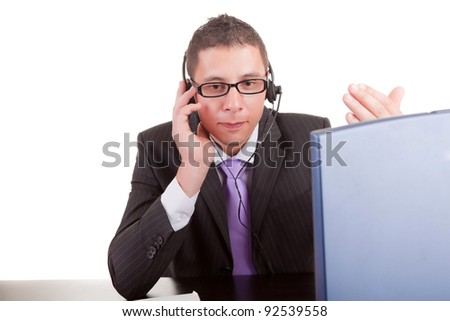 Young telephone operator at work - stock photo