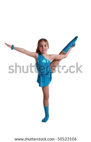 young the girl-gymnast on white background