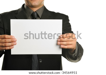 Young the man holds blank signs - stock photo