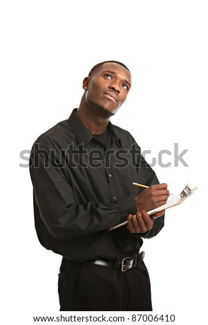 Young Thoughtful Black Man Holding Clipboard Writing, Smiling Isolated on White Background
