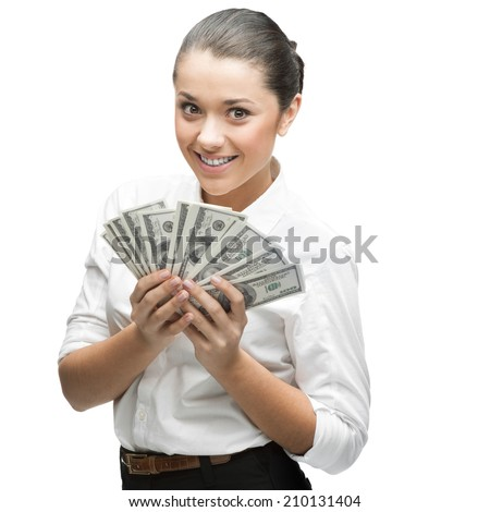 young thoughtful caucasian businesswoman in white blouse holding money isolated on white background - stock photo
