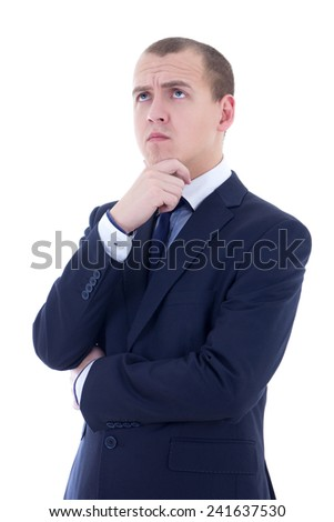 young thoughtful handsome business man in blue suit isolated on white background