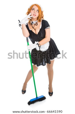 young tired housemaid with apron and broom