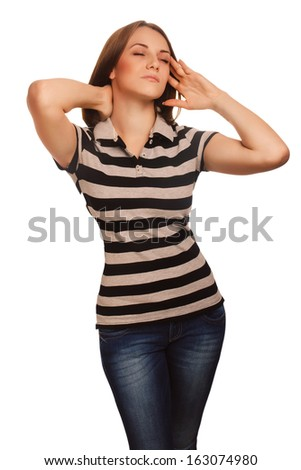 young tired woman in pain stress headache, holding his hands behind his head, female migraine isolated