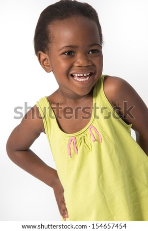 Young Toddler Girl Smiling Big - stock photo