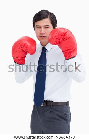 Young tradesman with boxing gloves against a white background - stock photo