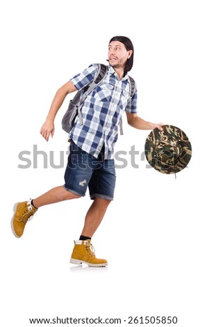 Young traveler with rucksack isolated on white - stock photo