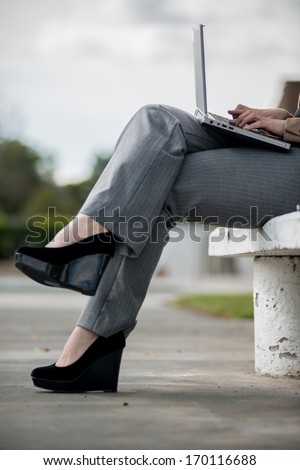 Young twenties caucasian career woman working remote - stock photo