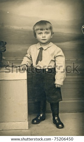 young, two years old boy - 1947 - stock photo