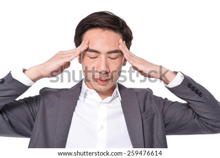young unhappy businessman holds his head, stress, headache and frustration concept,  - stock photo