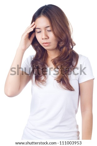 Young unhappy woman getting headache holding her forehead in pain