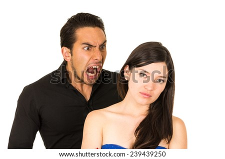 young unhappy woman having an argument with husband boyfriend isolated on white