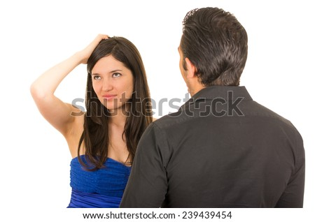 young unhappy woman having an argument with husband boyfriend isolated on white - stock photo