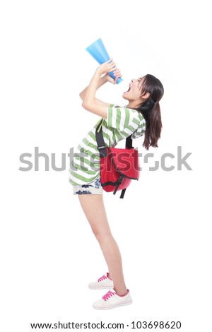 Young university student yelling through megaphone to empty copy space with full length isolated on white background, model is a asian girl - stock photo