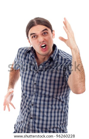 Young upset angry man gesturing, isolated on white background. - stock photo