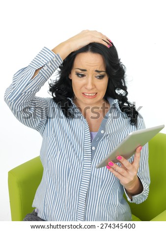 Young Upset Scared Attractive Woman Using Social Media Looking Distressed and Frightened - stock photo