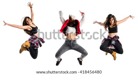 Young urban woman dancing - stock photo