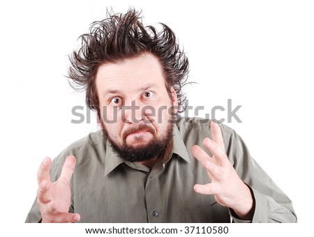 Young very angry person with hair up