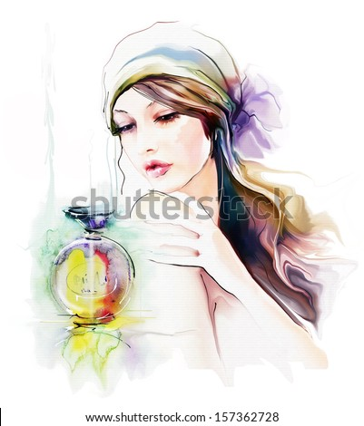 Young vintage woman with bottle of perfume - stock photo