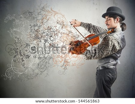 Young violinist with vintage flower effect