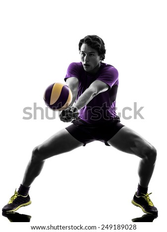young volley ball player man in silhouette white background - stock photo