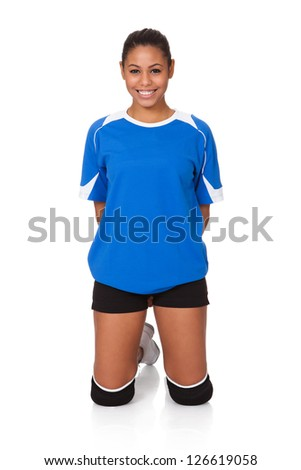 Young Volleyball Girl. Isolated On White Background - stock photo