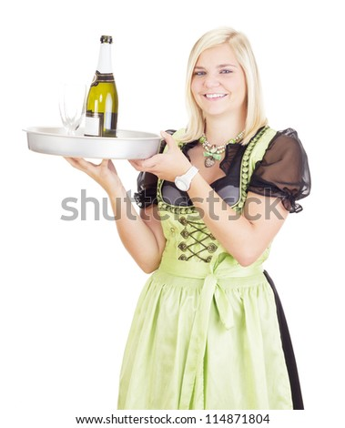 Young waitress with a tray - stock photo