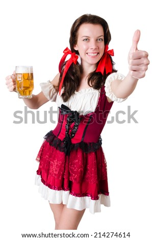 Young waitress with tray on white - stock photo