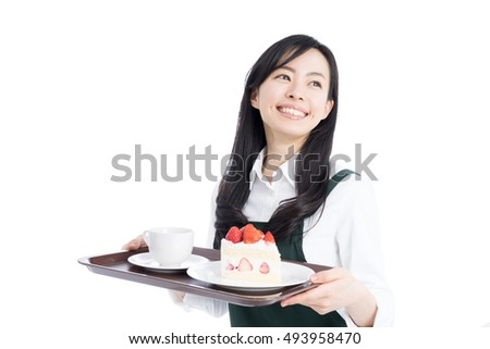 young waitress woman serving coffee and cake isolated on white background