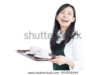 young waitress woman serving coffee isolated on white background
