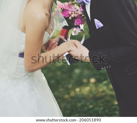 Young wedding caucasian couple together. - stock photo