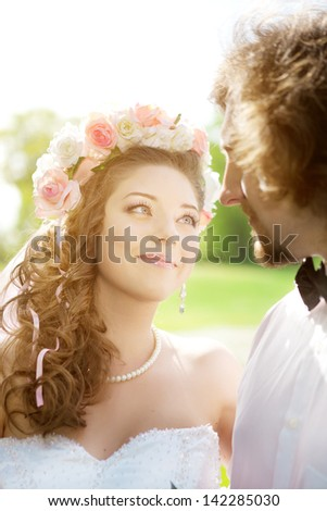 Young wedding couple in love - stock photo