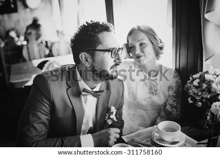Young wedding couple in love together.