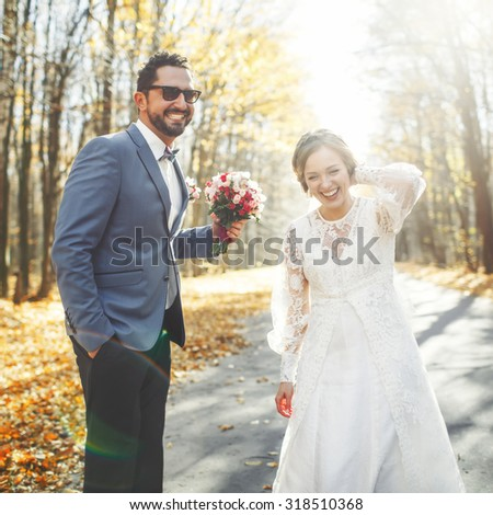 Young wedding couple in love together.  - stock photo