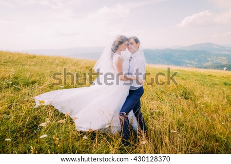 Young wedding couple posing uder bride's veil on windy sunny field with distant forest hills as background - stock photo