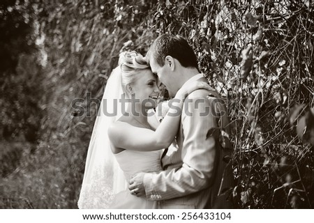 Young wedding couple together having great time.  - stock photo
