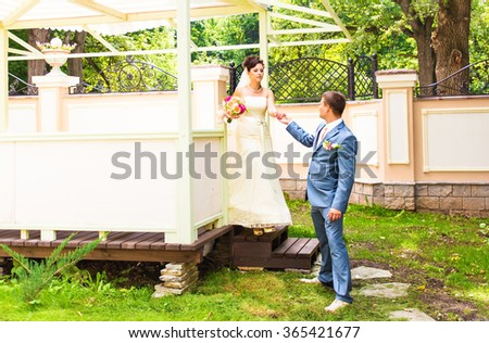 Young wedding couple walking in the park.