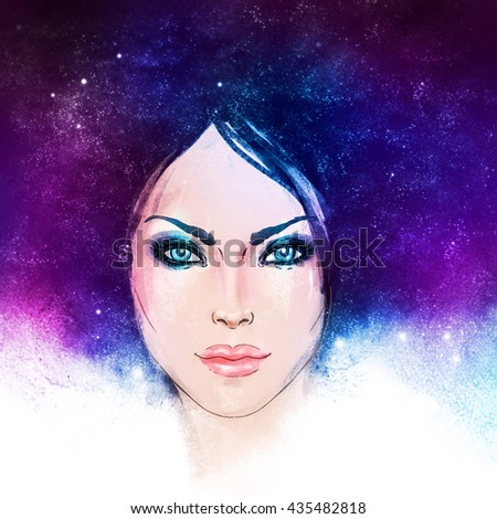 Young white beautiful woman with stars in her hair. Watercolor fashion illustration.Magic, cosmos, beauty, fantasy, abstract art. Isolated raster illustration. - stock photo