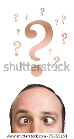 Young white Caucasian male adult has way too many questions in his head - stock photo