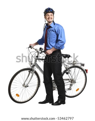young white collar worker and bicycle - stock photo
