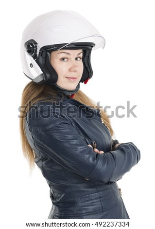 Young woman a motorcyclist with weared white urban helmet with opened shield system, isolated on white background