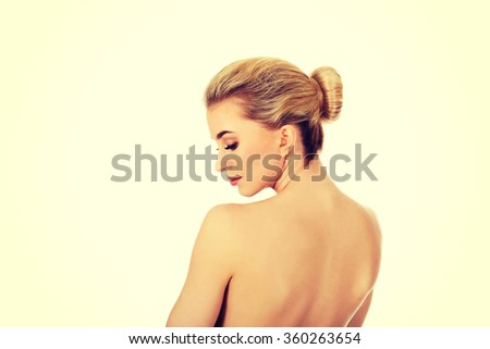 Young woman after bath iin green towel.  - stock photo
