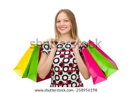 Young woman after shopping isolated   - stock photo