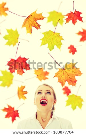 Young woman amazed becouse of sale, isolated on white - stock photo