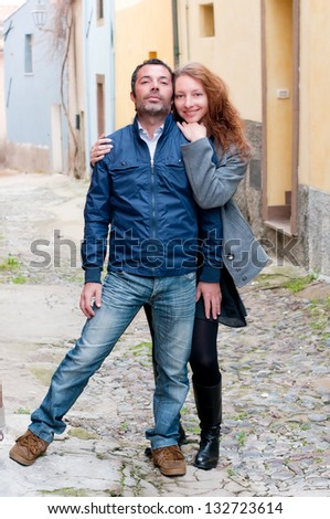 Young woman and handsome man - stock photo