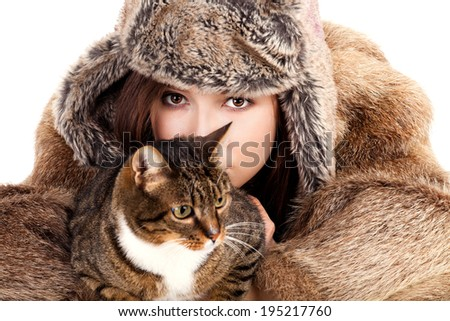 young woman and her pet, white background - stock photo