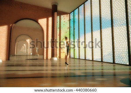 Young woman and her reflection in room with large mirror, column and mosaic window with sky view. 3D Rendering - stock photo