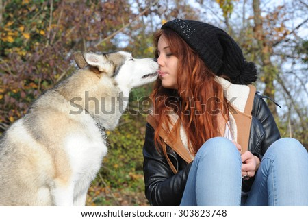 young woman and her wolfhound