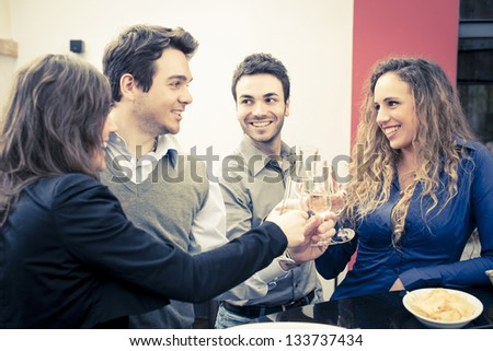 young woman and man during aperitif