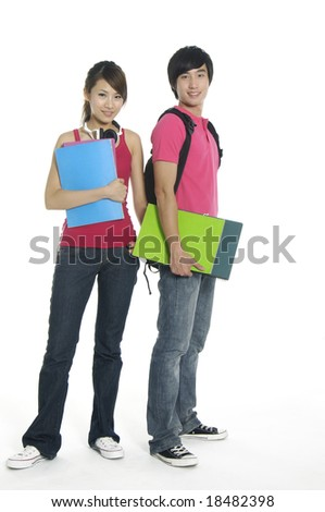 Young woman and man standing with books and bags, isolated on white